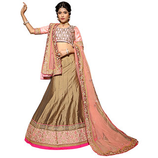 Manvaa Beige Colour Paper Silk Lehenga Choli With Dupptta