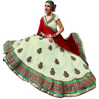 Manvaa Womens White Colour Net Lehenga Choli