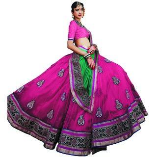 Manvaa Womens Pink Colour Net Lehenga Choli