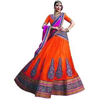 Manvaa Womens Orange Colour Net Lehenga Choli