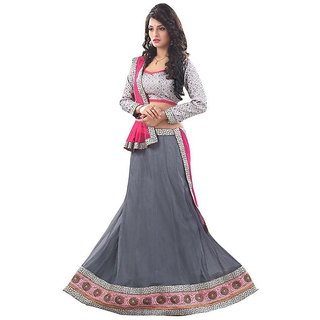 Manvaa GREY Colour NET lehenga