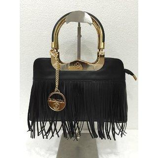 Edmoda Leather Fringe Womens Shoulder Handbag - Black