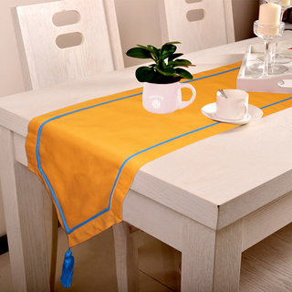 Lushomes Orange Table Runner with Blue contrasting cord piping