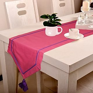 Lushomes Pink Table Runner with Purple contrasting cord piping
