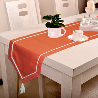Lushomes Maroon Table Runner with Off-White contrasting cord piping