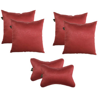 Lushomes Textured Blackout Red Car Set (4 pcs Cushions  2 pcs Neck rest Pillow)