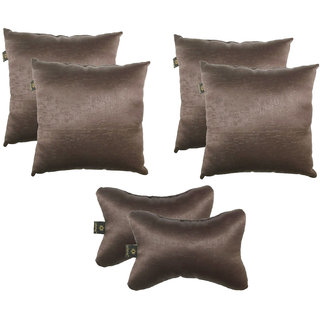 Lushomes Textured Blackout Dark Brown Car Set (4 pcs Cushions  2 pcs Neck rest Pillow)