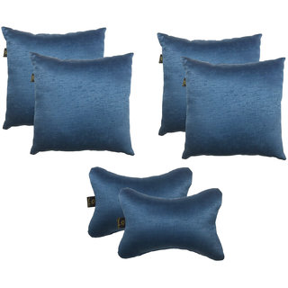 Lushomes Textured Blackout Blue Car Set (4 pcs Cushions  2 pcs Neck rest Pillow)