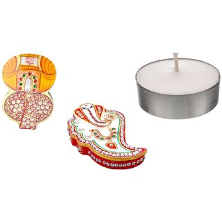 RM Festive Combo Offer Marble Ganesha Kumkum Chopda for Puja Place Freebie Candles