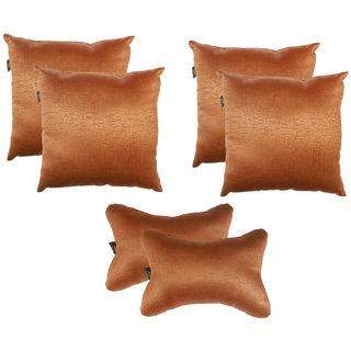 Lushomes Textured Blackout Light Brown Car Set (4 pcs Cushions  2 pcs Neck rest Pillow)