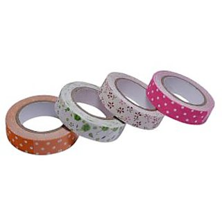 Saamarth Impex 4 Pcs Colorful Floral  Dot Printed Febric Adhesive Tape SI-803