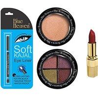 Blue Heaven Lipstick , Kajal Liner, Eye Magic Eye Shadow  Diamond Blush On (Set Of 4)