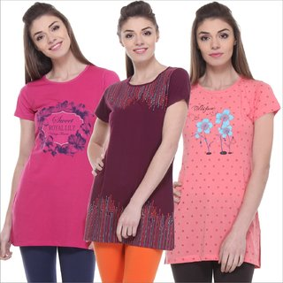 TAB91 Multi ColourRound Neck Printed Cotton Top For Women