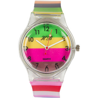 Multi Silicone Strap Round Dial Quartz Watch For Unisex By Stoln