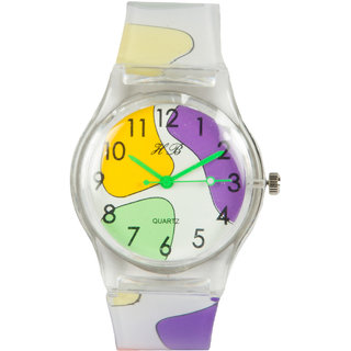 Multi Silicone Strap White Round Dial Quartz Watch For Kids By Stoln.