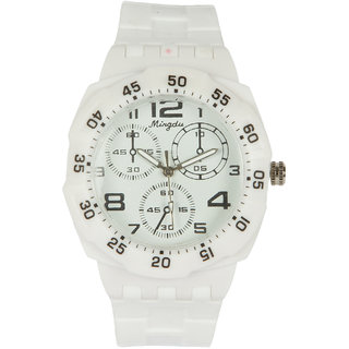 Round Dial White Silicone Strap Quartz Watch For Unisex By Stoln