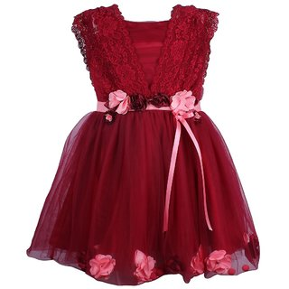 Titrit Maroon Party Wear Frock For Girls