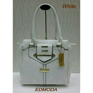 Edmoda Leather Womens Should Handbag - White
