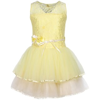Titrit Yellow Party Wear Frock For Girls