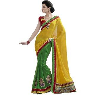 Bahubali Red Raw Silk Self Design Saree With Blouse