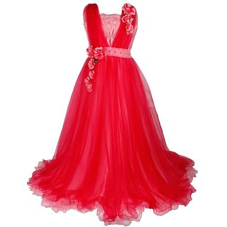 Titrit Red Party Wear Grown For Girls