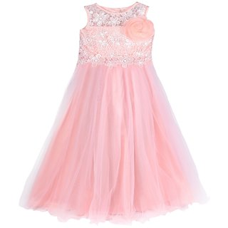 Titrit Baby Pink  Party Wear Grown For Girls
