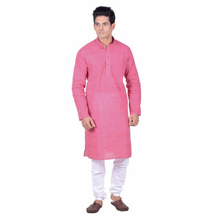 Kisah Pink Woven textured Full Sleeve Cotton Kurta Churidar Set for Men