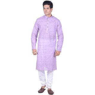 Kisah Purple Woven textured Full Sleeve Cotton Kurta Churidar Set for Men