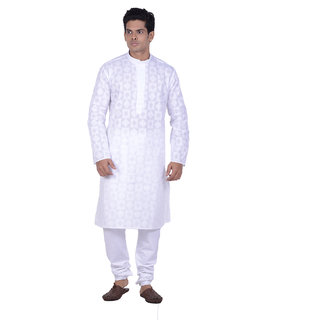 Kisah White Woven textured Full Sleeve Cotton Kurta Churidar Set for Men