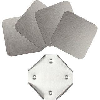 Plush Plaza Silver Stainless Steel Classico Coaster Set (4 Piece Set)