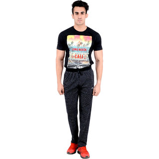 Okane Black Sports Pants For Men