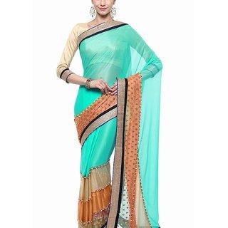 Aagaman Fashion Luminous Green Colored Border Worked Lycra Saree