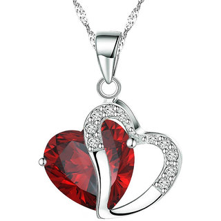 Shining Diva Non Plated Red PendantChains For Women-CFJ7851np