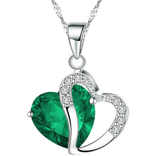 Shining Diva Non Plated Green PendantChains For Women-CFJ7908np