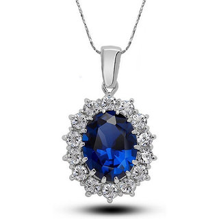 Shining Diva Non Plated Blue PendantChains For Women-CFJ7920np