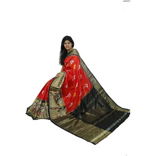 Pochampally Ikkath Heavy Tissue Red Colour Saree
