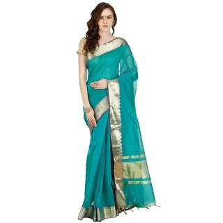 Banarasi Silk Works Party Wear Designer Saffire Colour Saree For Womens