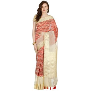 Banarasi Silk Works Party Wear Designer Beige Colour Saree For Womens
