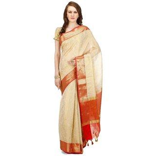 Banarasi Silk Works Party Wear Designer Beige Colour Saree For Womens