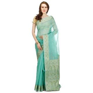 Banarasi Silk Works Party Wear Designer Sea Green Colour Saree For Womens