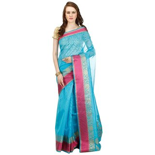 1c039a7363e41 Buy Banarasi Silk Works Party Wear Designer Sky Blue Colour Saree For  Womens Online - Get 69% Off