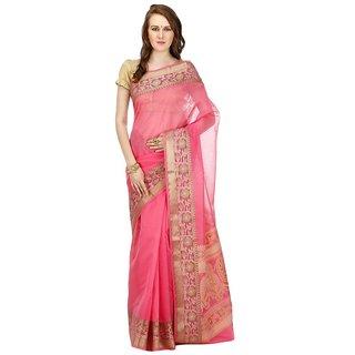 Banarasi Silk Works Party Wear Designer Pink Colour Saree For Womens