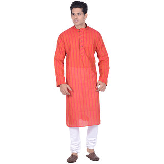 Kisah Red  Orange Striped textured Full Sleeve Cotton Kurta for Men