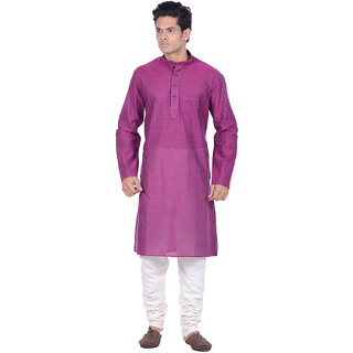 Kisah Magenta Woven textured Full Sleeve Cotton Kurta for Men