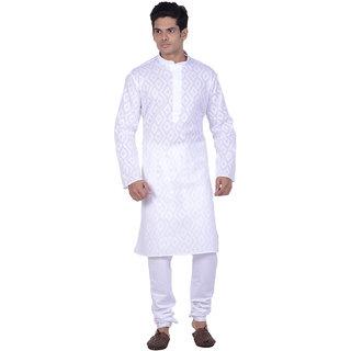 Kisah White Woven textured Full Sleeve Cotton Kurta for Men