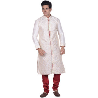 Kisah Cream Embroidered Full Sleeve Cotton Kurta for Men