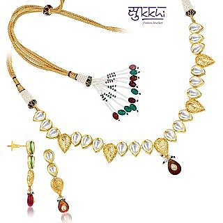 Sukkhi Kundan Gold Plated Fine Design Necklace Set