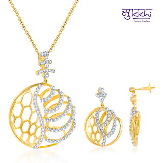 Sukkhi Classy Gold And Rodium Plated Cz Pendant Set
