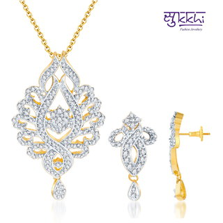 Sukkhi Pleasing Gold And Rodium Plated Cz Pendant Set