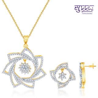 Sukkhi Ravishing Gold And Rodium Plated Cz Pendant Set